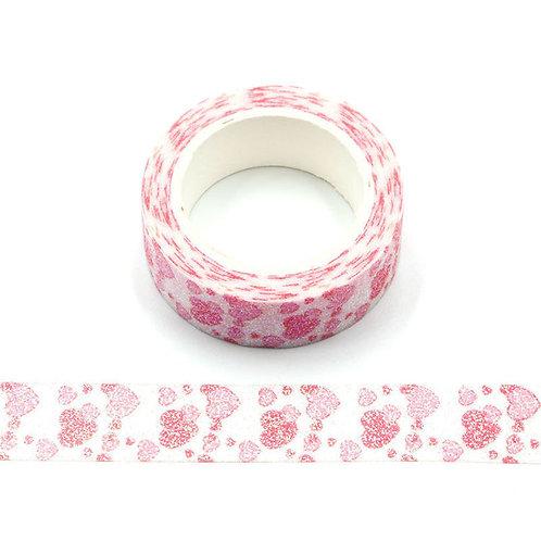 Masking tape paillettes coeurs roses et rouges glitter 15mm x 3m