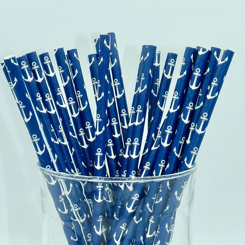 25 pailles papier Bleu marine Ancres blanches
