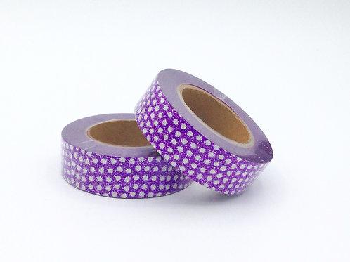 G021 - Masking tape paillettes violet pois blanc glitter