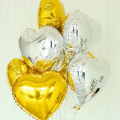 Ensemble de 10  ballons aluminium mylar coeur or et argent - remplissage hélium