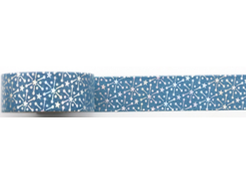 F130 - Masking tape foil bleu flocons argent