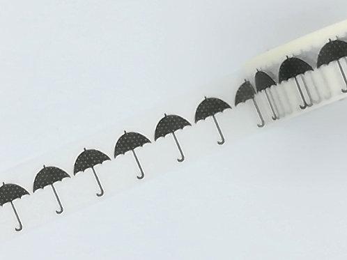 W365 - masking tape parapluie N&B I Black and white umbrella washi tape