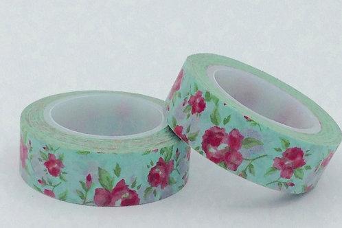 W232-  Masking tape vert fleurs roses fun  enfant design 15mm