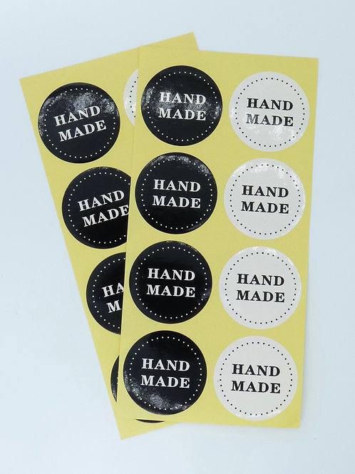 HM02 - 24 stickers Handmade kraft noir et blanc rond