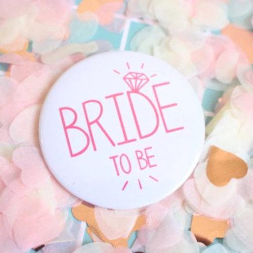 Badge pour EVJF mariée et Team bride blanc écriture rose