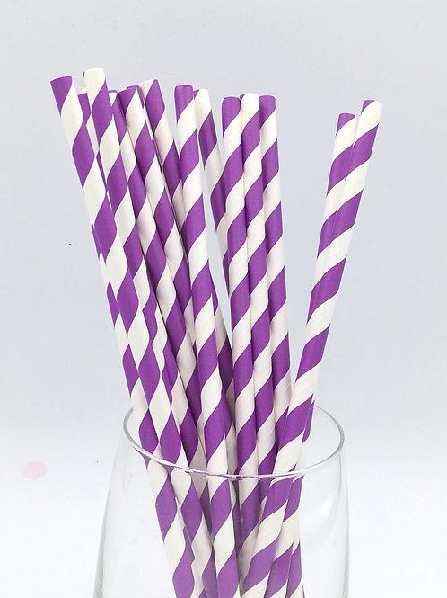 25 pailles papier rayures violettes
