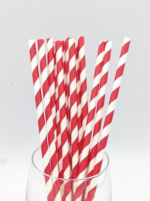 25 pailles papier rayures rouges