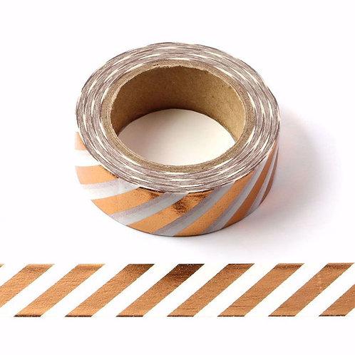 Masking tape foil rayures cuivre 15mm x 10m