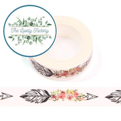 Masking tape flèches et  fleurs  15mm x 10m