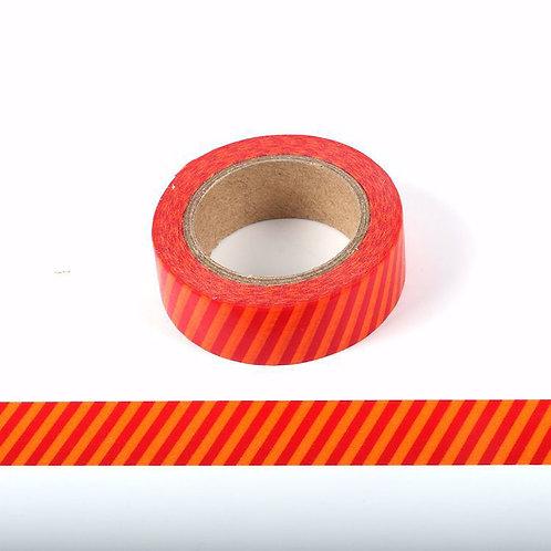 Masking tape rayures orange et rouge 15mm x 10m