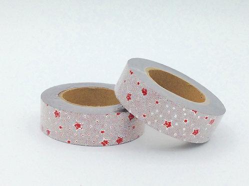 G015 - Paillettes argent étoiles rouges glitter