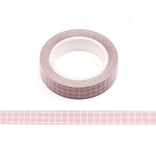 Masking tape grille de planner rose 10m W515
