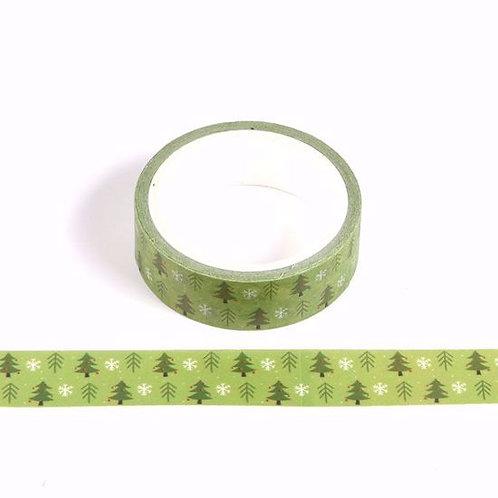 W477 - Masking tape5m vert sapins verts et blancs