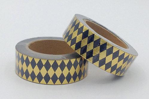 F019 - Masking tape Foil doré losanges noirs