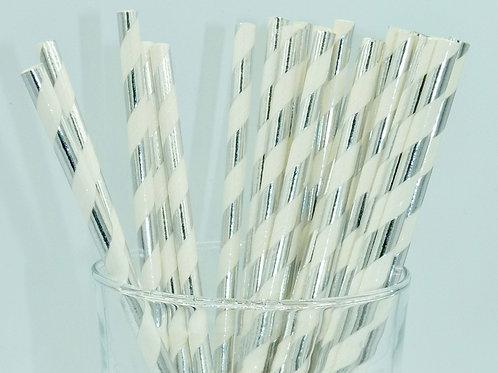 25 pailles papier blanc rayures argent métallique