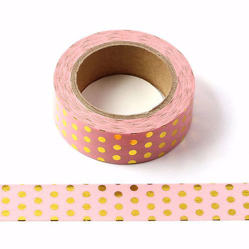 Masking tape foil rose clair pois doré métallique 15mm x 10m