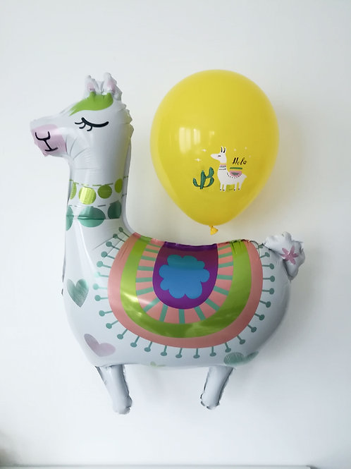 Ballon géant mylar LAMA + ballons latex lama