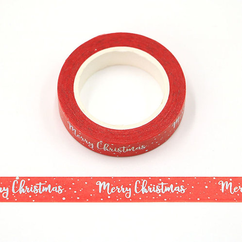 Masking tape  métallique 15 mm motif Merry Christmas
