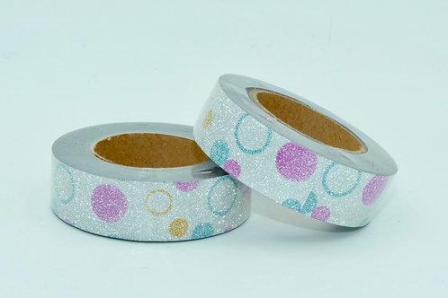 G050 - Masking tape  paillettes glitter argent pois acidulés