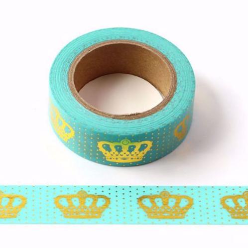 F103-  Masking tape foil  vert pastel couronnes dorées or I Crown washi tape