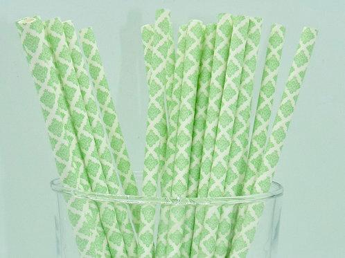 25 pailles papier damask vert