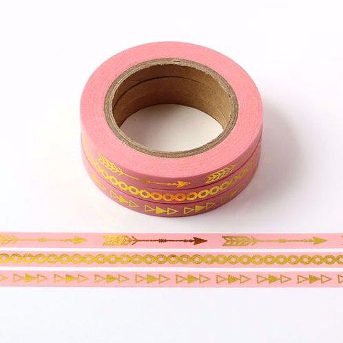 F111- Lot de 3 Masking tape foil fins 5mm rose pale