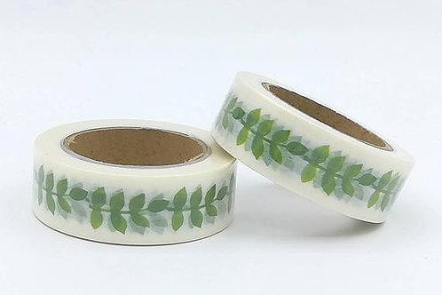 W372-  Masking tape feuilles vertes 10m x 15mm floral LEAF green