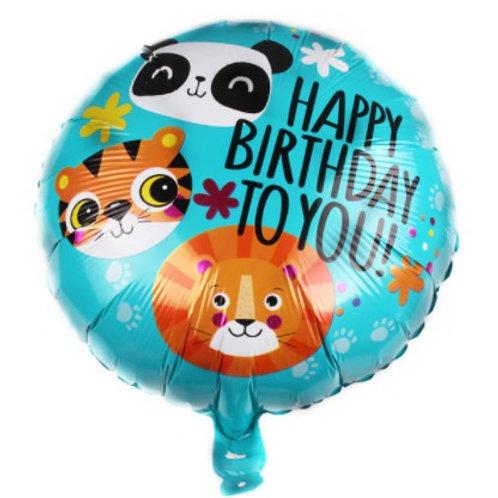 Ballon aluminium rond  Happy Birthday anniversaire  animaux - hélium