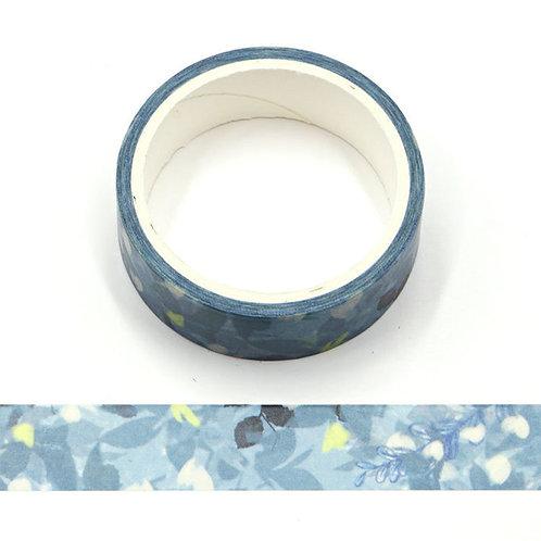 Masking tape fleurs été aquarelle bleu 15mm x 5m