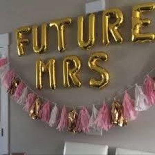 Ballons bannière FUTURE MRS Mylar dorée or suspension evjf soirée
