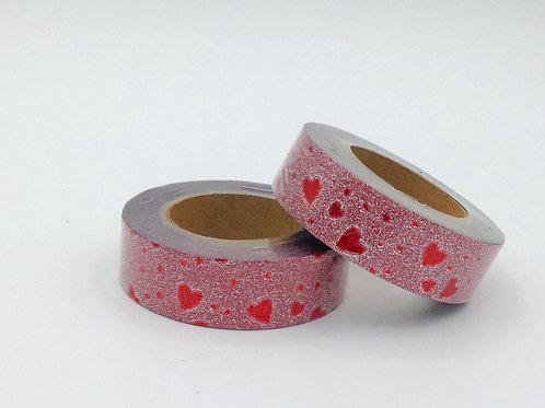 G038 - Paillettes rouge coeurs rouges glitter