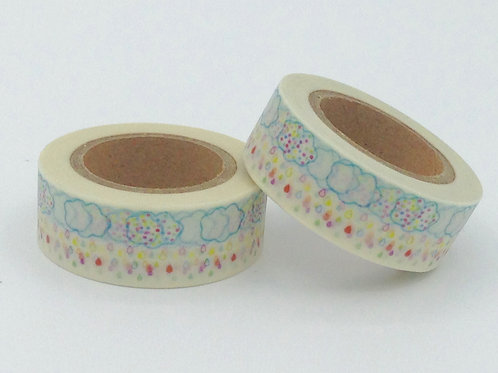 Masking tape blanc nuages colorés fun  enfant design 15mm x 10m