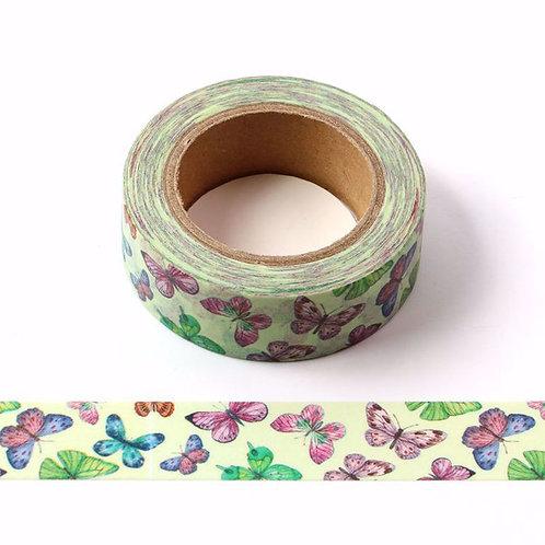 W549 - Masking tape 15 mm motif papillons colorés