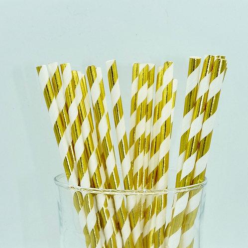 25 pailles papier blanc rayures dorée métallique anniversaire