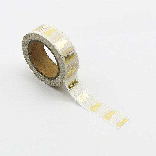 F006 - Masking tape  métallique 15mm Foil Ananas Dorés