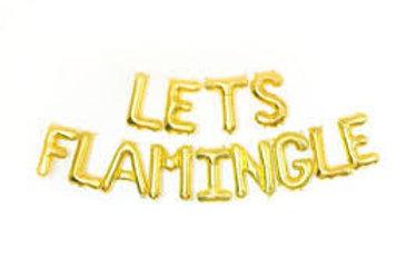 Ballons bannière LETS FLAMINGLE Mylar dorée or suspension soirée fête