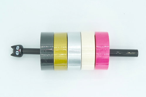 PACKGIRLY02- Lot de 5 Masking tape unis girly foil rose noir blanc doré