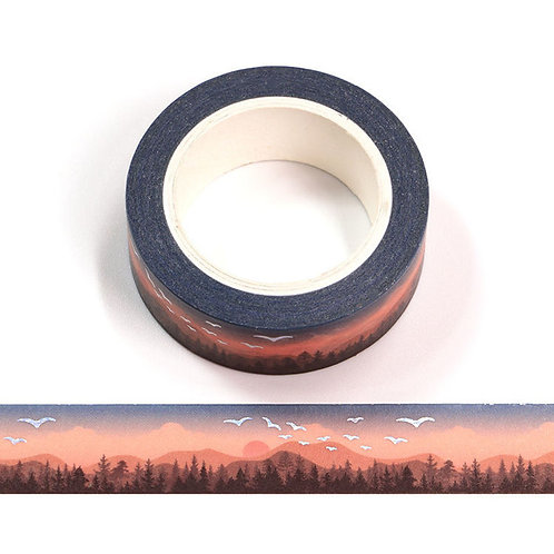 Masking tape métallique motif montagnes coucher de soleil