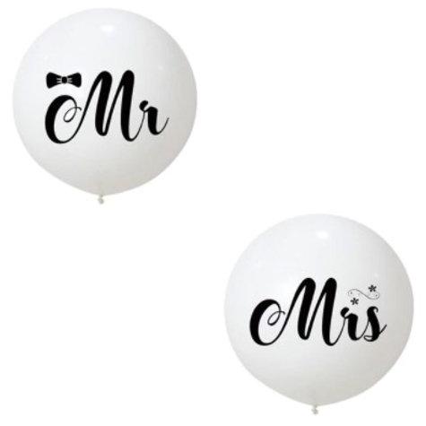 2 Ballons de baudruche géants blancs  Mr et Mrs