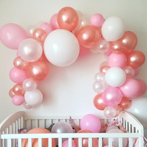 Guirlande de ballons rose gold blanc rose kit