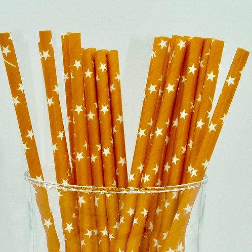25 pailles papier orange étoile blanche  anniversaire candy