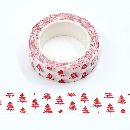Masking tape  blanc sapin rouge Noël 10m W528