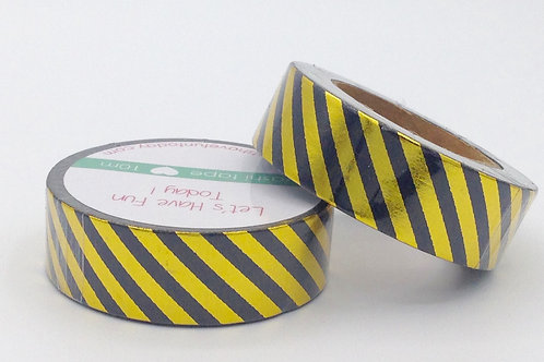 F020 - Masking tape doré rayures noires