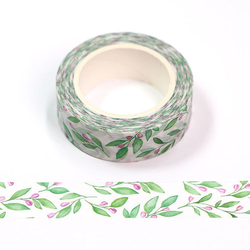 W546 - Masking tape 15 mm motif fleur aquarelle verte et rose