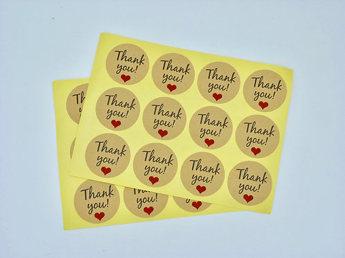 TY02 - 24 stickers Thank you Merci rond kraft noir coeur rouge