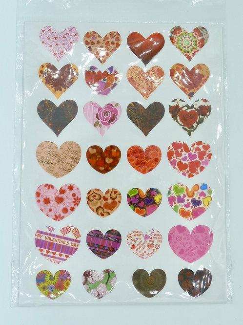 H01 - 28 stickers coeurs colorés Saint Valentin