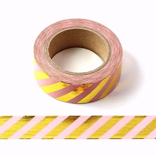 Masking tape rose rayures dorées 15mm x 10m