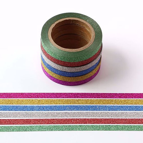 Lot de 6 Masking tape paillettes 5mm x 10m  glitter