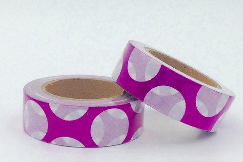 F046 - Masking tape foil rose pois blanc