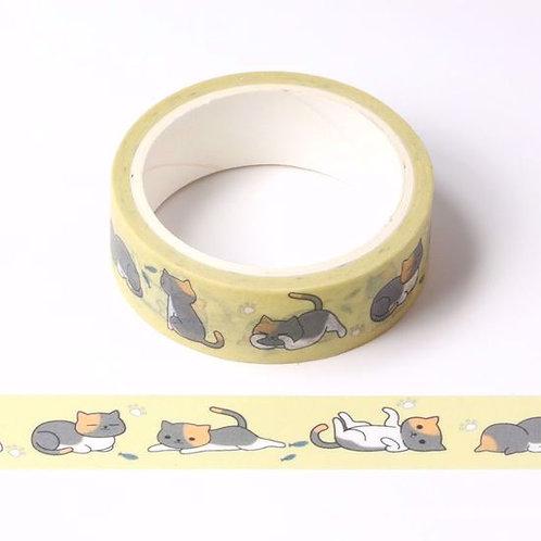 Masking tape chats fond jaune 15mm x 5m